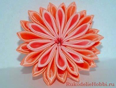 Цветы канзаши из лент своими руками мастер